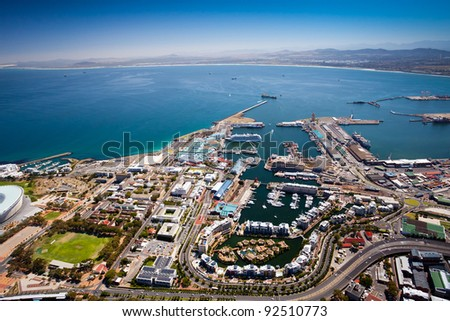 aerial view of cape town harbor and v&a waterfront - stock photo