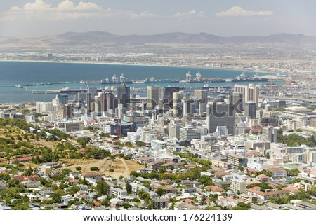 Aerial view of Cape Town skyline and harbor from Table Mountain, South Africa - stock photo