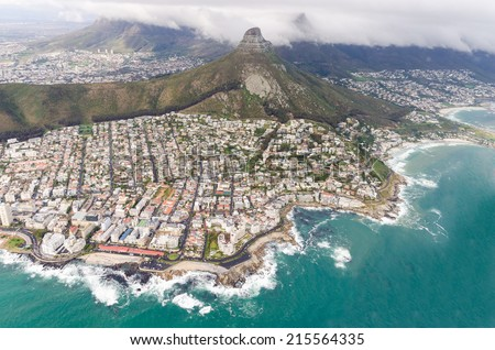 Aerial view of Cape Town  South Africa - stock photo