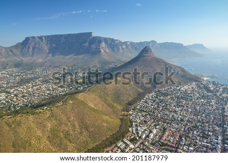 Aerial view of Cape Town, Table mountain and Lion!s Head, South Africa - stock photo