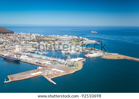 aerial view of Cape Town waterfront and harbour - stock photo