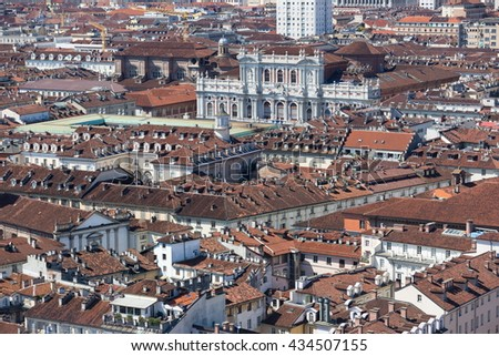 aerial view of Carignano Palace, Turin