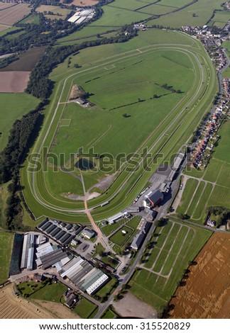 aerial view of Carlisle Racecourse, horse racing circuit, Cumbria, UK - stock photo