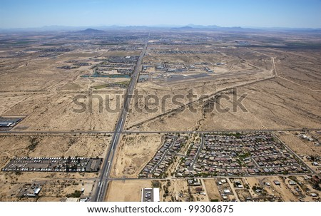Aerial view of Casa Grande, Arizona with the airport in the foreground - stock photo