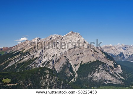 Aerial view of Cascade Mountain, which overlooks Banff, Alberta - stock photo