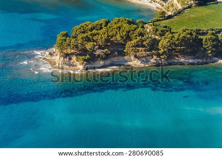 Aerial view of Cassis from the coastal path between Semaphore La Ciotat, Grande Tete and Cap Canaille - stock photo
