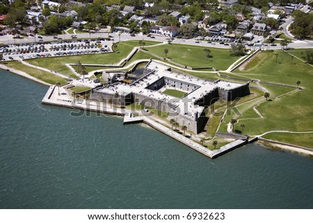 Aerial view of Castillo de San Marcos National Monument in Saint Augustine, Flordia.