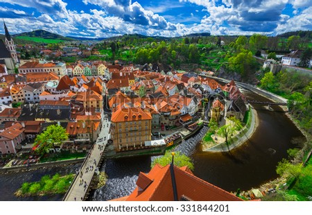 Aerial view of castle and houses in Cesky Krumlov, Czech republic - stock photo