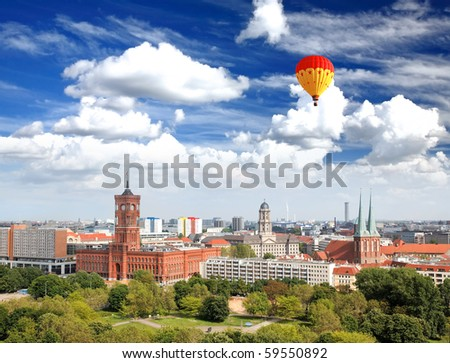 aerial view of central Berlin from the top of Berliner Dom - stock photo