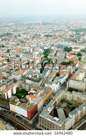 aerial view of central Berlin from the top of TY tower - stock photo
