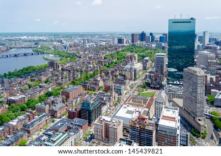 Aerial View of Central Boston from Prudential Tower - stock photo