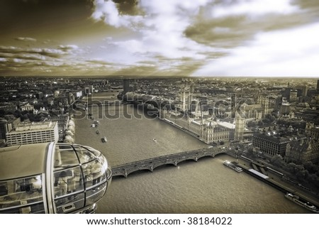 Aerial view of Central London, sepia toned - stock photo