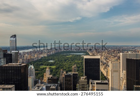Aerial view of Central park in  New york city - stock photo