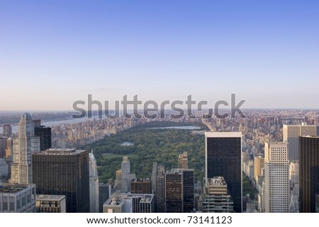 Aerial view of central park, New York City - stock photo