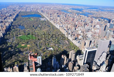 Aerial View of Central Park, New York, USA - stock photo