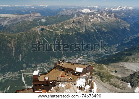 aerial view of Chamonix from Aiguille du Midi, France - stock photo