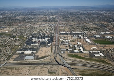 Aerial view of Chandler, Arizona and the Loop 101 and Loop 202 Highway - stock photo