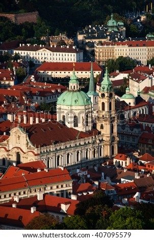Aerial view of Charles Bridge over Vltava river and Old city from Petrin hill Observation Tower. Prague, Czech Republic - stock photo