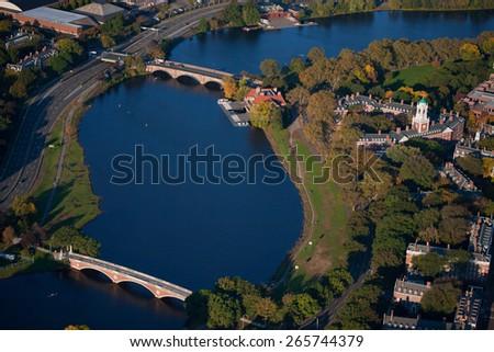 AERIAL VIEW of Charles River with views of John W. Weeks Bridge and Anderson Memorial Bridge, Harvard, Cambridge, Boston, MA  - stock photo