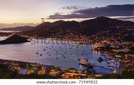 Aerial view of Charlotte Amalie Harbour in St Thomas at sunset - stock photo