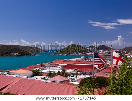 Aerial view of Charlotte Amalie Harbour in St Thomas in summer - stock photo