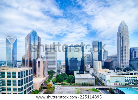 Aerial view of Charlotte North Carolina skyline - stock photo