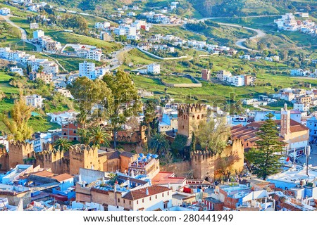 Aerial view of Chefchaouen, Morocco, small town in northwest Morocco known for its blue buildings - stock photo