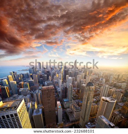 Aerial view of Chicago at sunset, USA - stock photo