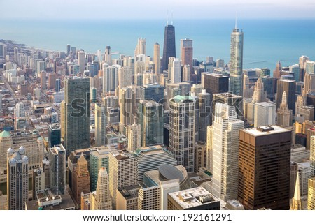 Aerial view of Chicago City downtown - stock photo