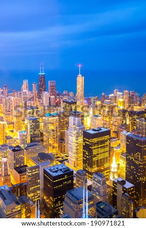 Aerial view of Chicago City downtown at dusk. - stock photo