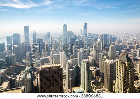 Aerial view of Chicago city USA - stock photo