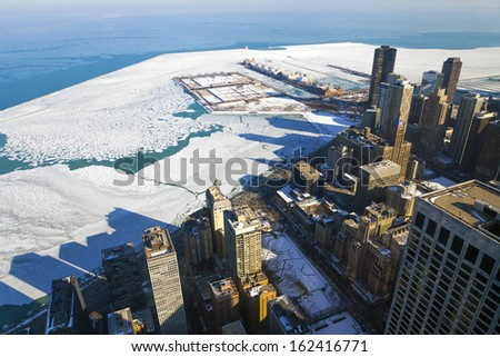 Aerial View of Chicago Downtown in Winter - stock photo