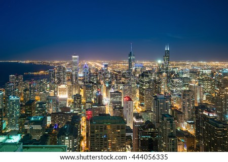 Aerial view of Chicago downtown skyline at sunset from high above. - stock photo
