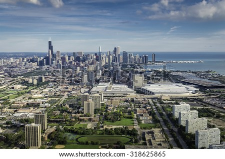 Aerial view of Chicago Downtown with marina and tall buildings- high angle - stock photo
