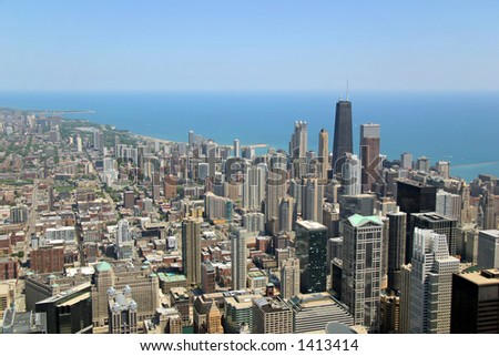 Aerial view of Chicago, Illinois looking north from the Sears Tower. - stock photo