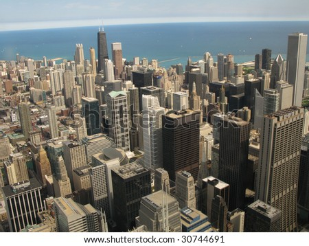 Aerial view of Chicago, Illinois looking north from the Sears Tower - stock photo