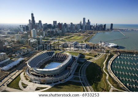 Aerial view of Chicago, Illinois skyline with Soldier Field. - stock photo
