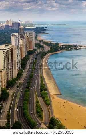 Aerial view of Chicago's Lake Shore Drive