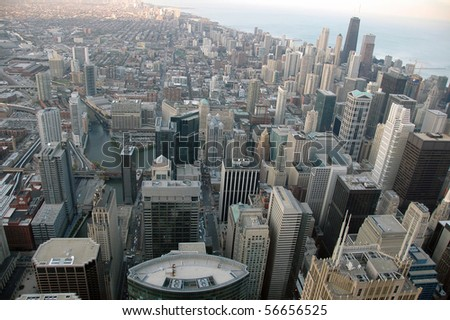 Aerial View of Chicago Skyline - stock photo