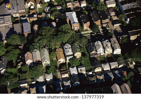 Aerial view of Chicago suburbs, IL - stock photo