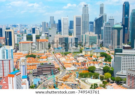 Aerial view of Chinatown and Downotwn of Singapore in the daytime