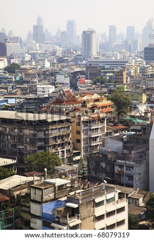 Aerial view of chinatown in Bangkok city, Thailand - stock photo