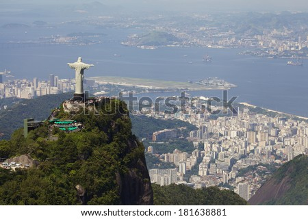 Aerial view of Christ Redeemer - stock photo