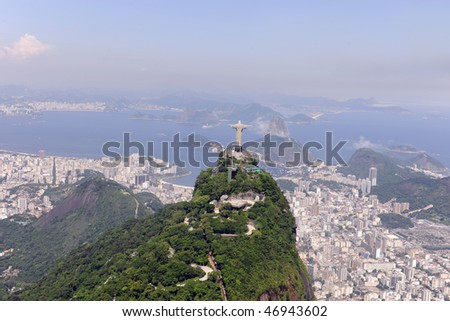 Aerial view of Christ Redeemer and Sugarloaf in Rio de Janeiro - stock photo