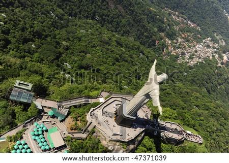 Aerial view of Christ Redeemer/ Corcovado Mountain in Rio de Janeiro - stock photo