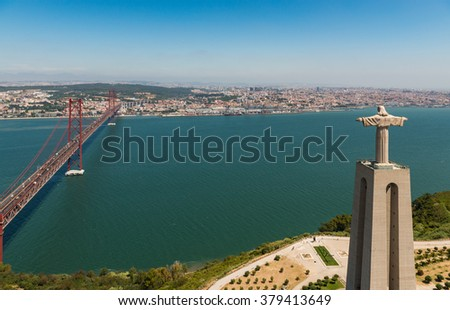 Aerial View of Christ the King Statue and 25th of April Bridge, Lisbon, Portugal