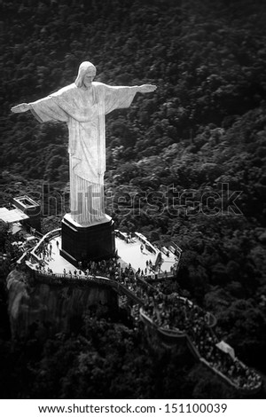 Aerial view of Christ the Redeemer statue on top of Corcovado, Rio de Janeiro, Brazil - stock photo