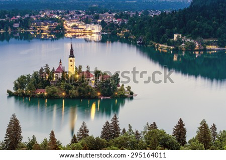 Aerial view of church of Assumption in Lake Bled, Slovenia  - stock photo