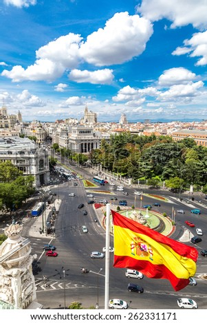 Aerial view of Cibeles fountain at Plaza de Cibeles in Madrid in a beautiful summer day, Spain - stock photo