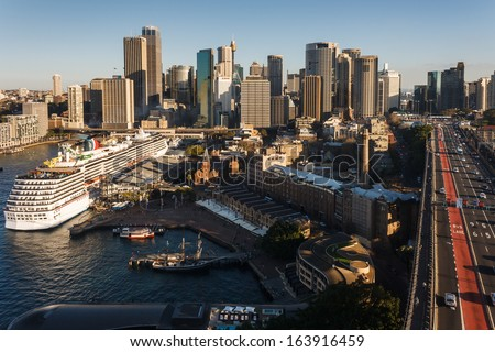 aerial view of Circular Quay in Sydney - stock photo